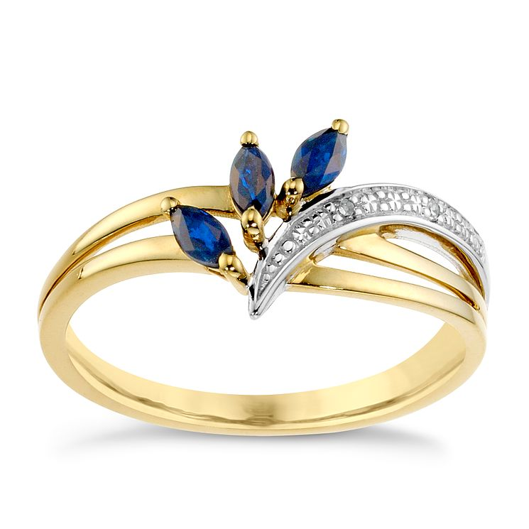 9ct Yellow Gold Diamond & Sapphire Ring - Product number 8957584