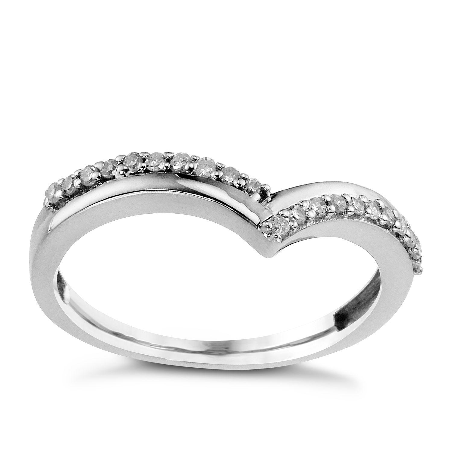9ct White Gold Wishbone Diamond Ring HSamuel