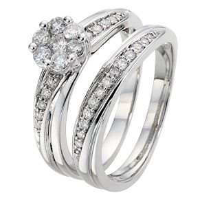 9ct White Gold 1/2ct Diamond Perfect Fit Bridal Set - Product number 8968446