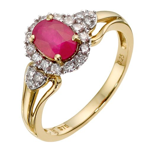 9ct Yellow Gold Diamond & Treated Ruby Ring - Product number 8971358