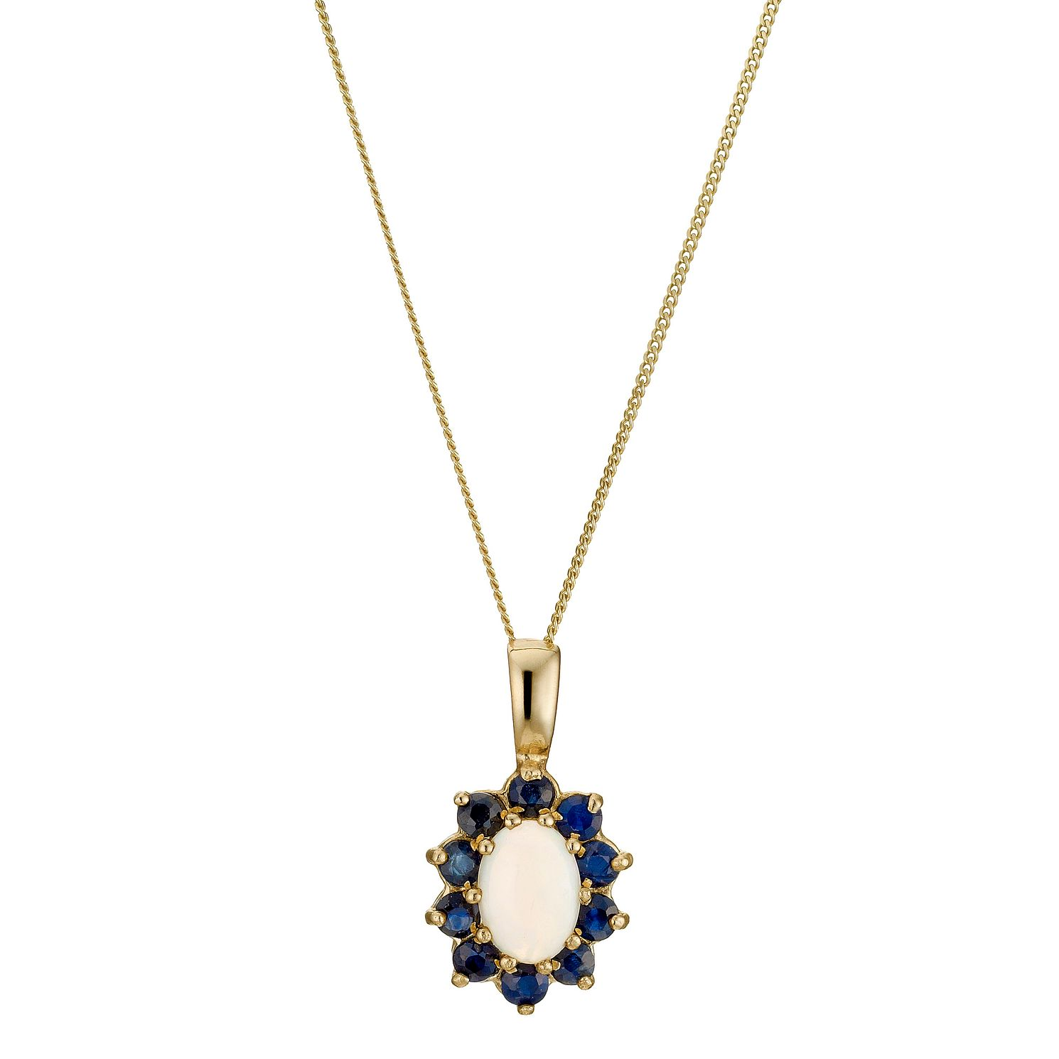 Sapphire necklaces hmuel 9ct yellow gold sapphire opal pendant product number 8974780 aloadofball Image collections