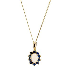 9ct Yellow Gold Sapphire Opal Pendant - Product number 8974780