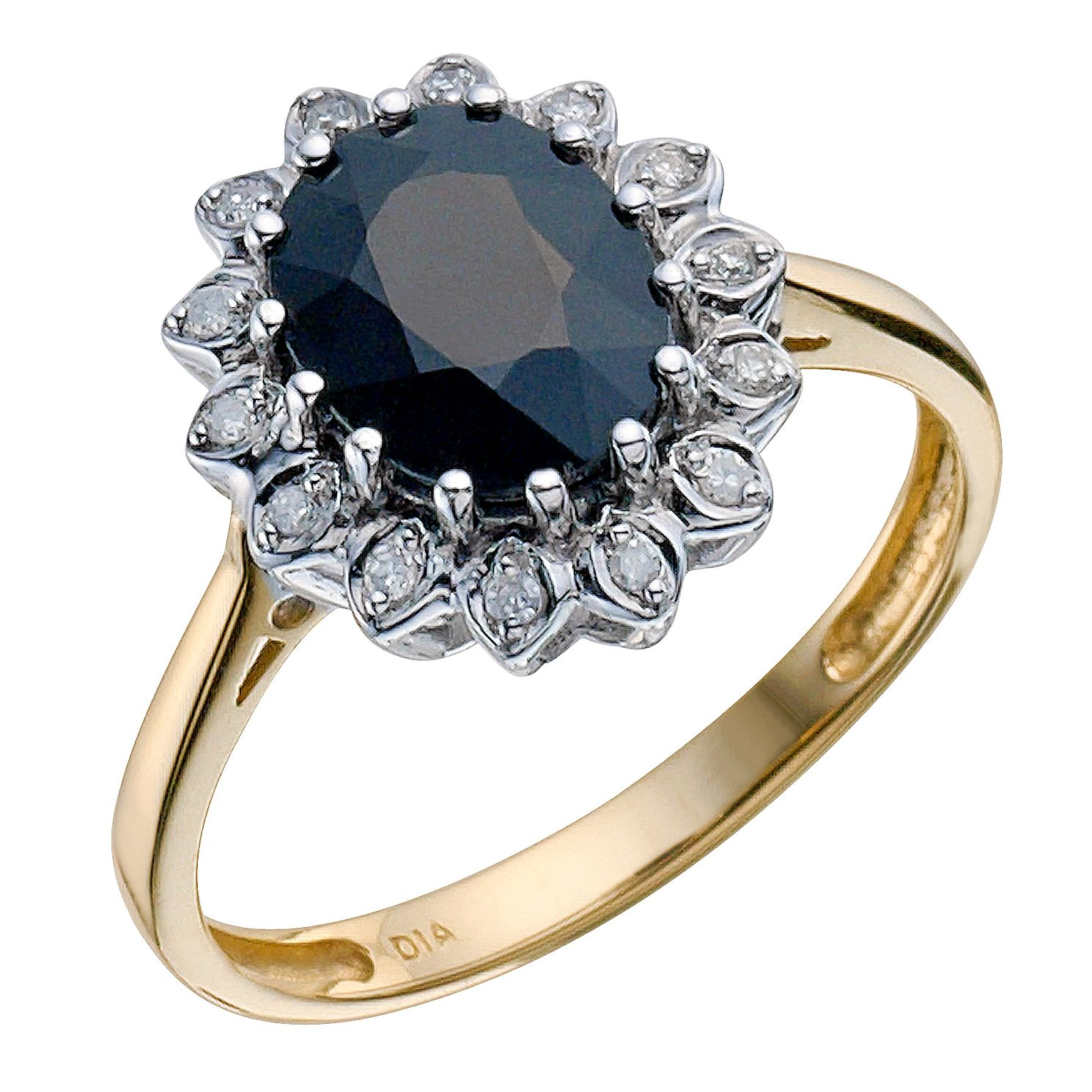 and engagement ring sapphire blue diamond gemstone gold white pid rings