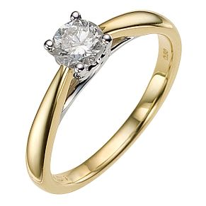 9ct yellow gold 1/2ct heart solitaire ring - Product number 8979707