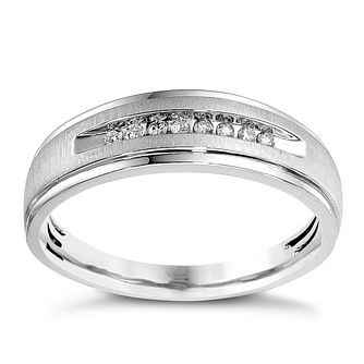 Men's 9ct White Gold 0.10ct Matt & Polished 6mm Diamond Ring - Product number 8995826