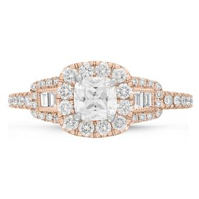 Neil Lane Bridal 14ct Rose Gold 0.90ct Diamond Halo Ring - Product number 9002553