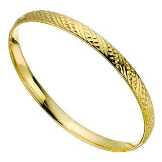 9ct Yellow Gold Textured Bangle - Product number 9004750