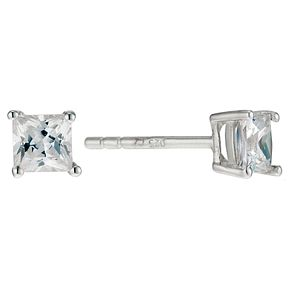 Silver & Cubic Zirconia 4mm Square Stud Earrings - Product number 9005005