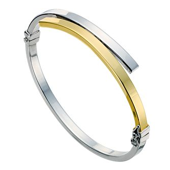 9ct Yellow & Silver Cross Over Bangle - Product number 9006494