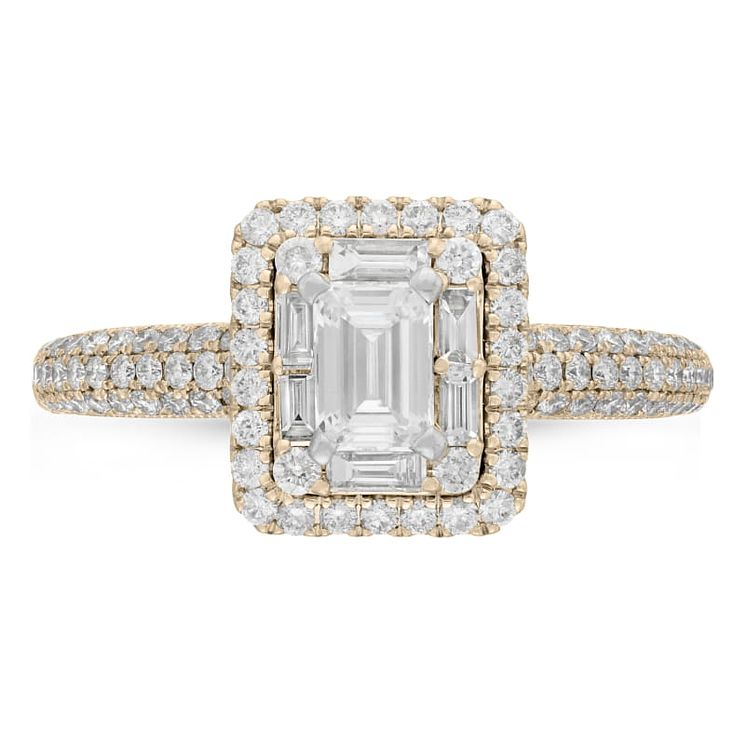 Neil Lane 14ct Yellow Gold 0.98ct Diamond Emerald Cut Ring