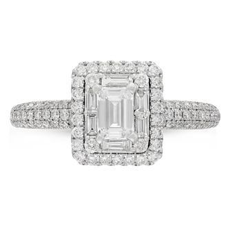 Neil Lane Platinum 0.98ct Diamond Emerald Cut Ring - Product number 9011226