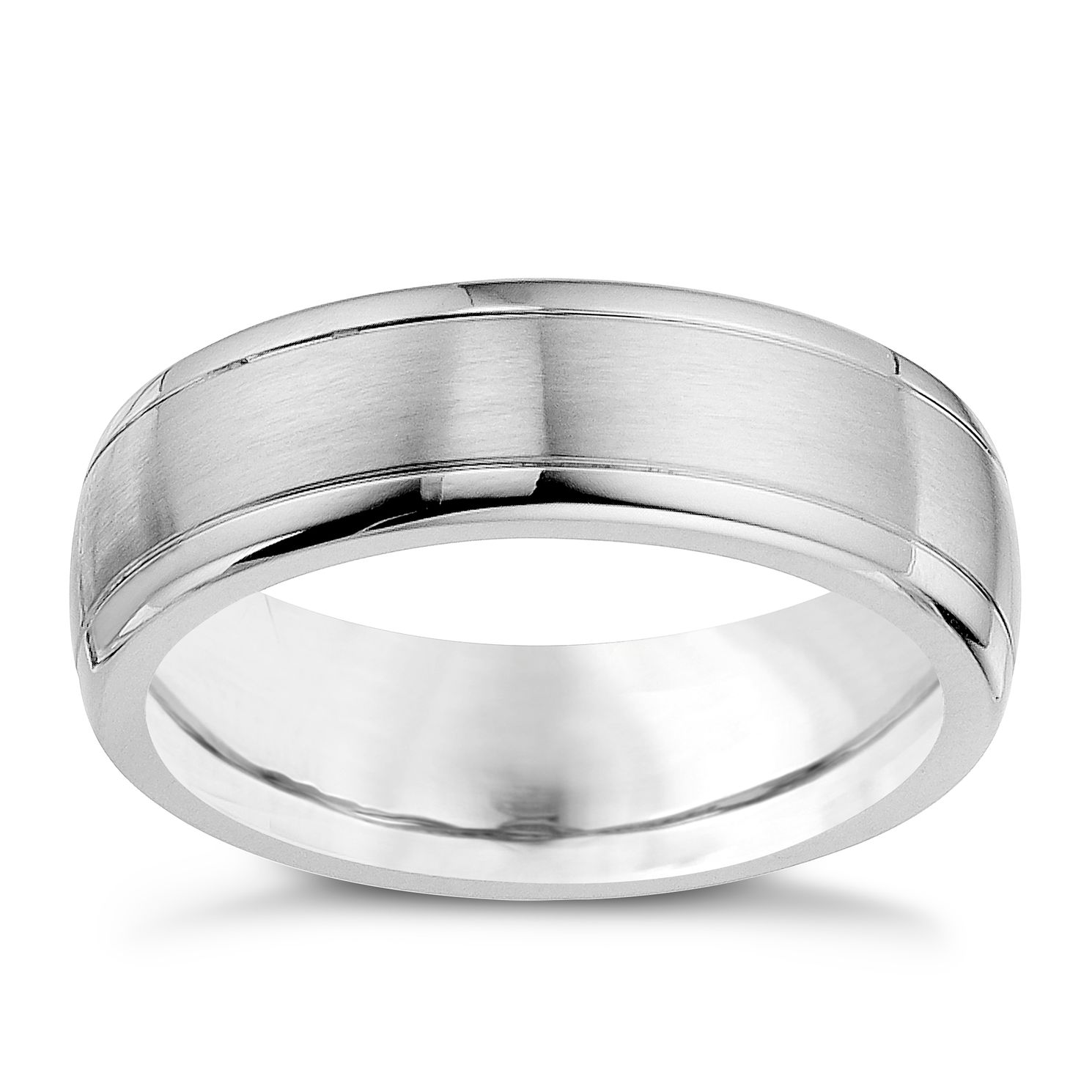 cobalt satin polished 7mm wedding band product number 9013865 - Silver Wedding Ring
