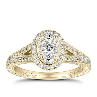 Neil Lane 14ct Yellow Gold 0.62ct Oval Diamond Cluster Ring - Product number 9015310