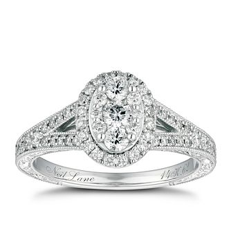 Neil Lane Platinum 0.62ct Oval Diamond Cluster Ring - Product number 9016589