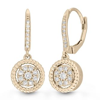 Neil Lane 14ct Yellow Gold 0.25ct Diamond Cluster Earrings - Product number 9018891