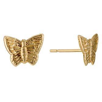 9ct Yellow Gold Butterfly Stud Earrings - Product number 9020454