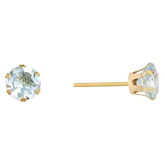 9ct Yellow Gold Aquamarine Stud Earrings - Product number 9020489