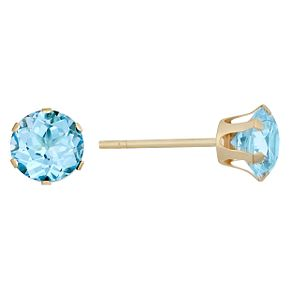 9ct Yellow Gold Blue Topaz Stud Earrings. - Product number 9020578