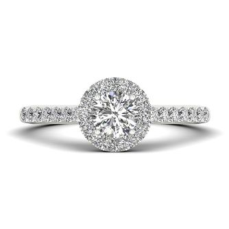 The Diamond Story Platinum 0.66ct Round Halo Ring - Product number 9033181