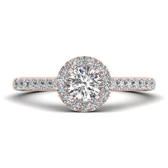 The Diamond Story 18ct Rose Gold 0.66ct Round Halo Ring - Product number 9033890