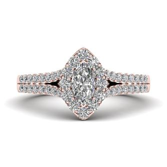 The Diamond Story 18ct Rose Gold 0.66ct Marquise Halo Ring - Product number 9040099