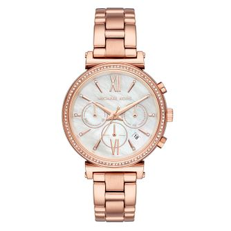 Michael Kors Ladies' Sofie Pave Rose Gold Tone Watch - Product number 9040617