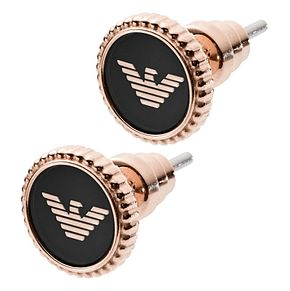 Emporio Armani Ladies' Rose Gold Tone Logo Stud Earrings - Product number 9040668