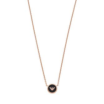 Emporio Armani Ladies' Rose Gold Tone Black Logo Necklace - Product number 9040706