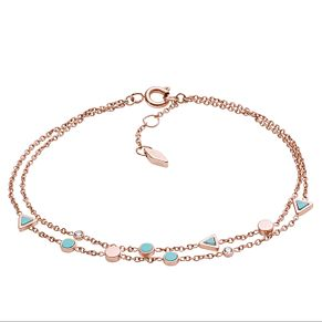 Fossil Ladies' Rose Gold Tone Blue Fashion Bracelet - Product number 9041028