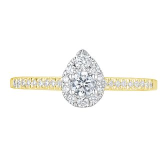 Tolkowsky 18ct Yellow Gold 0.38ct Pear Halo Diamond Ring - Product number 9041702
