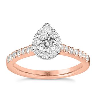 Tolkowsky 18ct Rose Gold 0.75ct Pear Halo Diamond Ring - Product number 9044949
