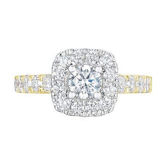 Tolkowsky 18ct Yellow Gold 1.50ct Cushion Diamond Halo Ring - Product number 9045295
