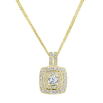 Tolkowsky 18ct Yellow Gold 0.50ct Halo Diamond Pendant - Product number 9046402