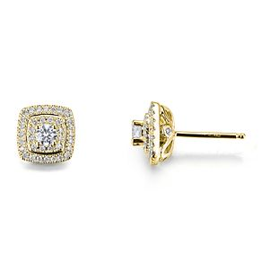 Tolkowsky 18ct Yellow Gold 0.60ct Cushion Halo Earrings - Product number 9046437