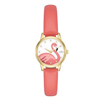 Kate Spade Metro Ladies' Gold Tone Pink Flamingo Strap Watch - Product number 9047425