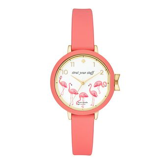 Kate Spade Park Row Ladies' Gold Tone Pink Flamingo Watch - Product number 9047433