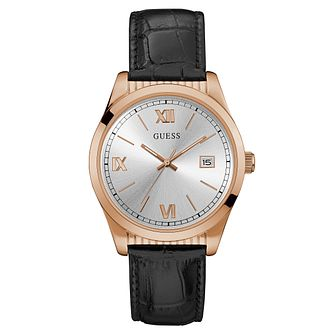 Guess Men's Rose Gold Black Leather Strap Watch - Product number 9047611