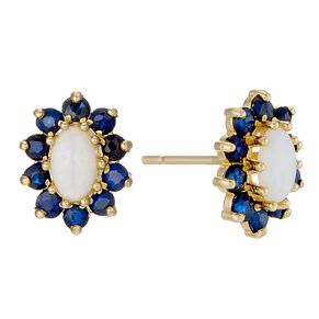 9ct Yellow Gold Opal & Sapphire Stud Earrings - Product number 9049703