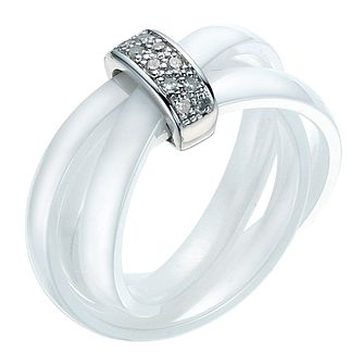 White Ceramic Diamond & Sterling Silver Ring - Product number 9075631