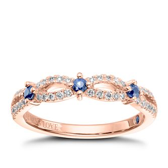 Vera Wang 18ct Rose Gold 0.18ct Diamond & Sapphire Band - Product number 9077448