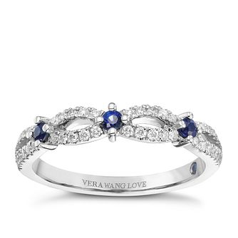 Vera Wang Platinum 0.18ct Diamond & Sapphire Band - Product number 9077596