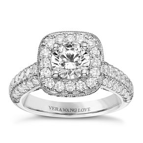 Vera Wang Platinum 2.45ct Diamond Cushion Halo Ring - Product number 9086455