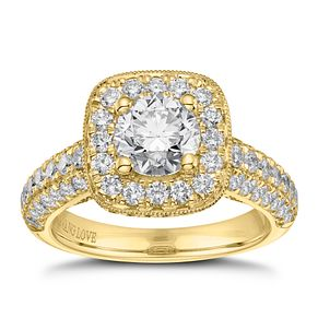 Vera Wang 18ct Yellow Gold 2.45ct Diamond Cushion Halo Ring - Product number 9088164