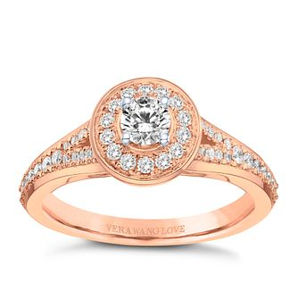 Vera Wang 18ct Rose Gold 0.45ct Round Diamond Halo Ring - Product number 9088547
