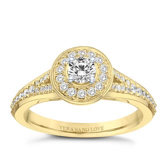 Vera Wang 18ct Yellow Gold 0.45ct Round Diamond Halo Ring - Product number 9089756