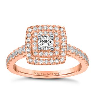 Vera Wang 18ct Rose Gold 0.70ct Double Diamond Halo Ring - Product number 9090347