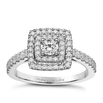 Vera Wang 18ct Platinum 0.70ct Double Diamond Halo Ring - Product number 9090622