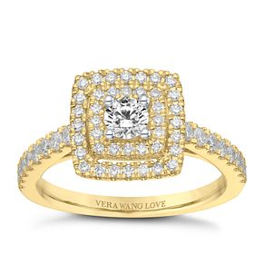 Vera Wang 18ct Yellow Gold 0.70ct Double Diamond Halo Ring - Product number 9091092