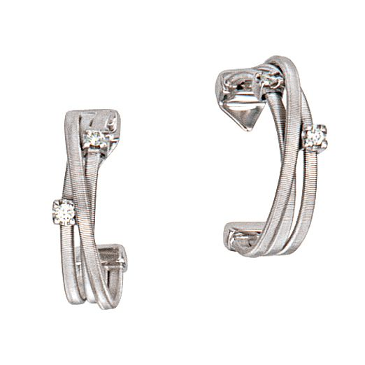 Marco Bicego Goa 18ct white gold diamond 3 row earrings - Product number 9095829