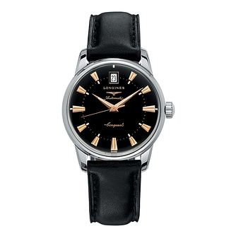 Longines men's stainless steel black leather strap watch - Product number 9100075